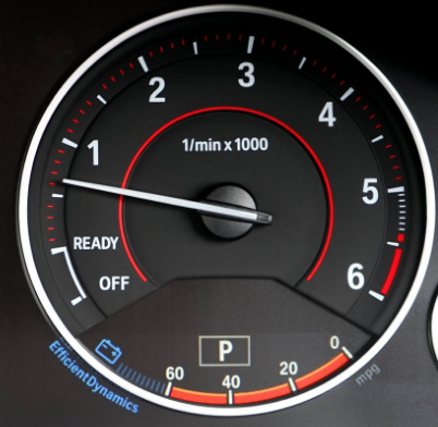 Dashboard tachometer gauge showing RPM